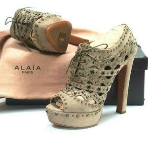 ALAÏA Grey Suede Studded Platform Ankle Booties